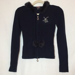 XOXO Collection Navy Hooded Sweater Faux Fur Trim
